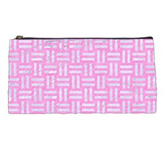 Woven1 White Marble & Pink Colored Pencil Pencil Cases by trendistuff
