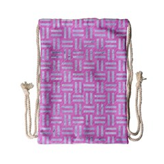Woven1 White Marble & Pink Colored Pencil Drawstring Bag (small) by trendistuff