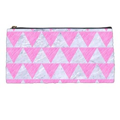Triangle2 White Marble & Pink Colored Pencil Pencil Cases by trendistuff
