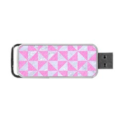 Triangle1 White Marble & Pink Colored Pencil Portable Usb Flash (two Sides) by trendistuff