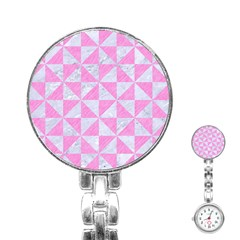 Triangle1 White Marble & Pink Colored Pencil Stainless Steel Nurses Watch