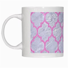 Tile1 White Marble & Pink Colored Pencil (r) White Mugs
