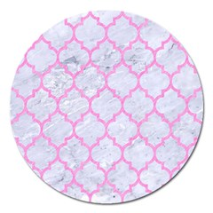 Tile1 White Marble & Pink Colored Pencil (r) Magnet 5  (round) by trendistuff