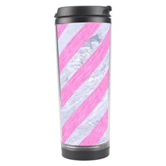 Stripes3 White Marble & Pink Colored Pencil (r) Travel Tumbler by trendistuff
