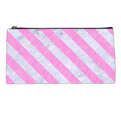 Stripes3 White Marble & Pink Colored Pencil Pencil Cases by trendistuff