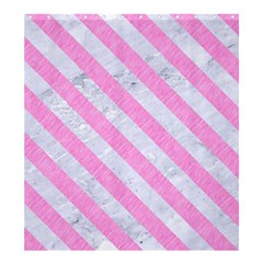 Stripes3 White Marble & Pink Colored Pencil Shower Curtain 66  X 72  (large)  by trendistuff