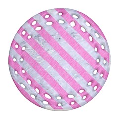 Stripes3 White Marble & Pink Colored Pencil Ornament (round Filigree) by trendistuff