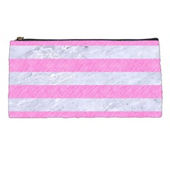 Stripes2white Marble & Pink Colored Pencil Pencil Cases by trendistuff