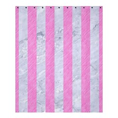 Stripes1 White Marble & Pink Colored Pencil Shower Curtain 60  X 72  (medium)  by trendistuff