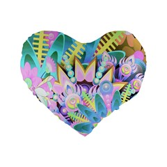 Floral Pattern Tropical Hawaiian Retro  Standard 16  Premium Flano Heart Shape Cushions by CrypticFragmentsColors