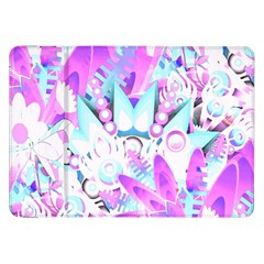 Hawaiian Retro Tropical Floral Print Pink Blue Samsung Galaxy Tab 8 9  P7300 Flip Case by CrypticFragmentsColors