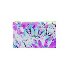 Hawaiian Retro Tropical Floral Print Pink Blue Cosmetic Bag (xs) by CrypticFragmentsColors