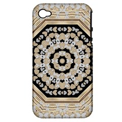 Wood Butterflies And Wood Hearts In Harmony Apple Iphone 4/4s Hardshell Case (pc+silicone) by pepitasart