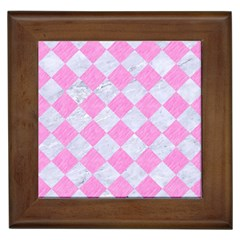 Square2 White Marble & Pink Colored Pencil Framed Tiles by trendistuff