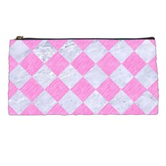 Square2 White Marble & Pink Colored Pencil Pencil Cases by trendistuff