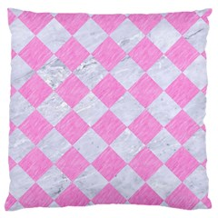 Square2 White Marble & Pink Colored Pencil Large Cushion Case (two Sides) by trendistuff