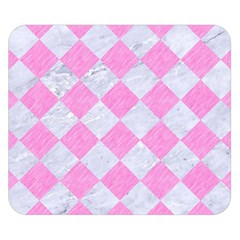Square2 White Marble & Pink Colored Pencil Double Sided Flano Blanket (small)  by trendistuff