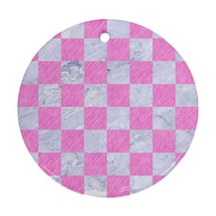 Square1 White Marble & Pink Colored Pencil Round Ornament (two Sides) by trendistuff