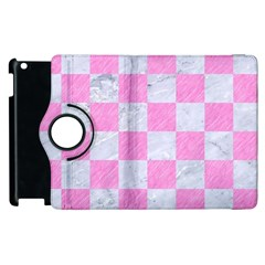 Square1 White Marble & Pink Colored Pencil Apple Ipad 2 Flip 360 Case by trendistuff