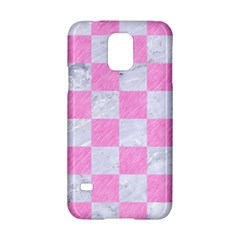 Square1 White Marble & Pink Colored Pencil Samsung Galaxy S5 Hardshell Case  by trendistuff