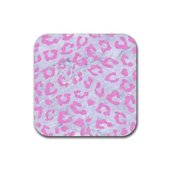 Skin5 White Marble & Pink Colored Pencil Rubber Square Coaster (4 Pack)  by trendistuff