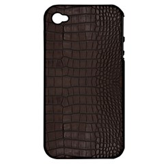 Gator Brown Leather Print Apple Iphone 4/4s Hardshell Case (pc+silicone)