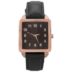 Gator Brown Leather Print Rose Gold Leather Watch  by LoolyElzayat