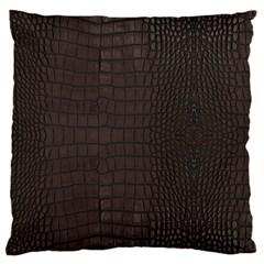 Gator Brown Leather Print Large Flano Cushion Case (one Side) by LoolyElzayat