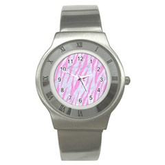 Skin3 White Marble & Pink Colored Pencil (r) Stainless Steel Watch by trendistuff