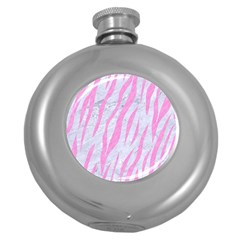 Skin3 White Marble & Pink Colored Pencil (r) Round Hip Flask (5 Oz) by trendistuff