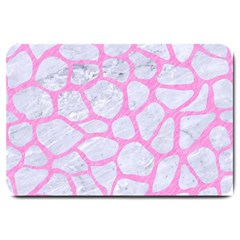 Skin1 White Marble & Pink Colored Pencil Large Doormat  by trendistuff