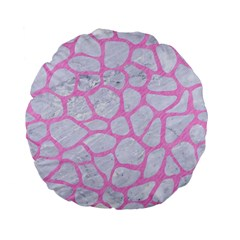 Skin1 White Marble & Pink Colored Pencil Standard 15  Premium Flano Round Cushions by trendistuff