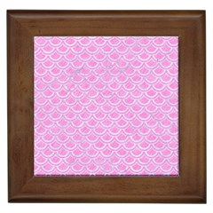 Scales2 White Marble & Pink Colored Pencil Framed Tiles by trendistuff
