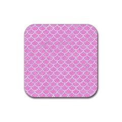 Scales1 White Marble & Pink Colored Pencil Rubber Square Coaster (4 Pack)  by trendistuff