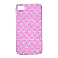 Scales1 White Marble & Pink Colored Pencil Apple Iphone 4/4s Hardshell Case With Stand by trendistuff