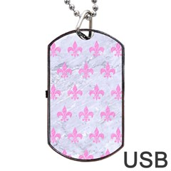 Royal1 White Marble & Pink Colored Pencil Dog Tag Usb Flash (two Sides)