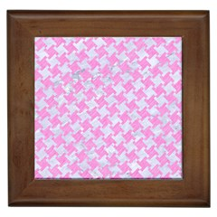 Houndstooth2 White Marble & Pink Colored Pencil Framed Tiles by trendistuff