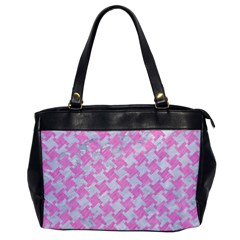 Houndstooth2 White Marble & Pink Colored Pencil Office Handbags by trendistuff