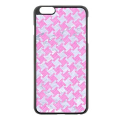 Houndstooth2 White Marble & Pink Colored Pencil Apple Iphone 6 Plus/6s Plus Black Enamel Case by trendistuff