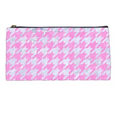 Houndstooth1 White Marble & Pink Colored Pencil Pencil Cases by trendistuff