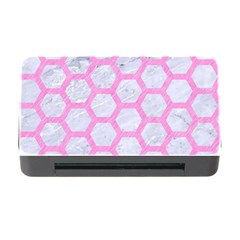 Hexagon2 White Marble & Pink Colored Pencil (r) Memory Card Reader With Cf by trendistuff