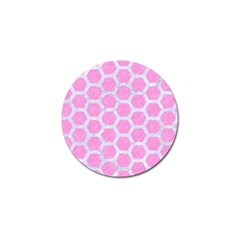 Hexagon2 White Marble & Pink Colored Pencil Golf Ball Marker (10 Pack) by trendistuff
