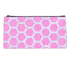 Hexagon2 White Marble & Pink Colored Pencil Pencil Cases by trendistuff