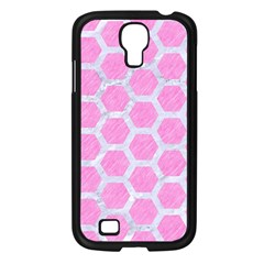Hexagon2 White Marble & Pink Colored Pencil Samsung Galaxy S4 I9500/ I9505 Case (black) by trendistuff