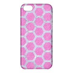 Hexagon2 White Marble & Pink Colored Pencil Apple Iphone 5c Hardshell Case by trendistuff