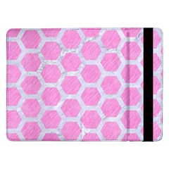 Hexagon2 White Marble & Pink Colored Pencil Samsung Galaxy Tab Pro 12 2  Flip Case by trendistuff