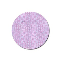 Hexagon1 White Marble & Pink Colored Pencil (r) Rubber Coaster (round)  by trendistuff