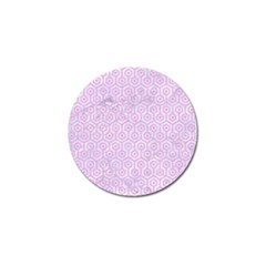 Hexagon1 White Marble & Pink Colored Pencil (r) Golf Ball Marker by trendistuff
