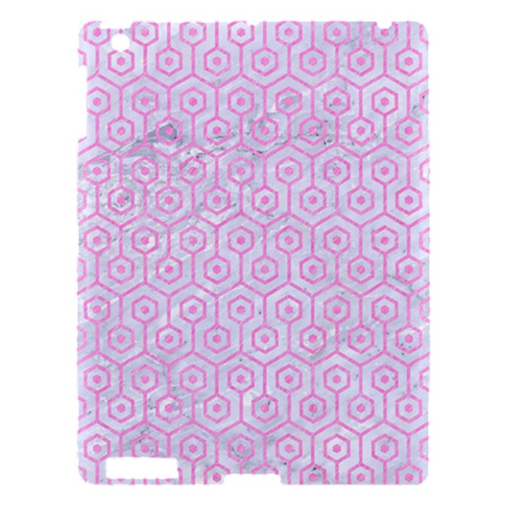 HEXAGON1 WHITE MARBLE & PINK COLORED PENCIL (R) Apple iPad 3/4 Hardshell Case