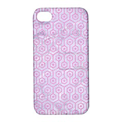 Hexagon1 White Marble & Pink Colored Pencil (r) Apple Iphone 4/4s Hardshell Case With Stand by trendistuff